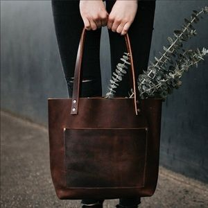 Portland leather goods•Medium grizzly tote/wallet